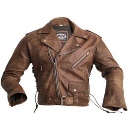 MDM109 Highway Jacke in hellem Look Braun